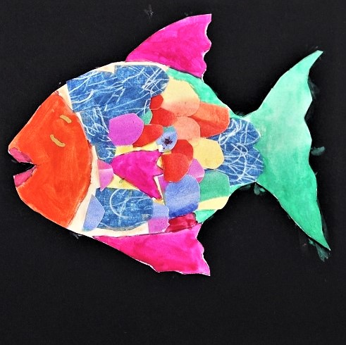 A fish made with different coloured paper