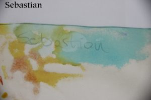 The name Sebastian written in pencil with watercolours